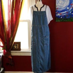 Long denim overalls dress.